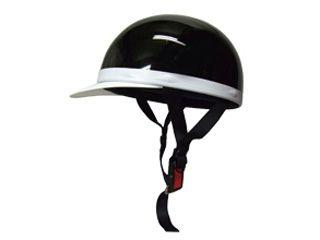 18851:ハーフキャップヘルメット 白ツバ付