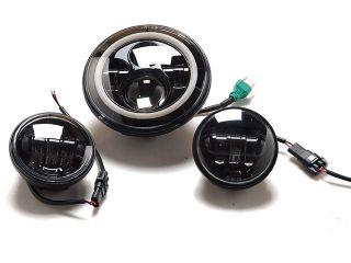 193117:7インチLEDヘッドライトイカリングタイプ&フォグセット(ブラック)